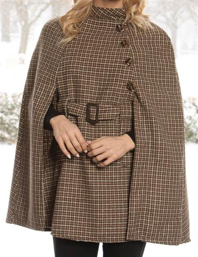 Houndstooth Belted Cape Coat