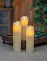Drippy Faux Flame Pillars (Set Of 3)