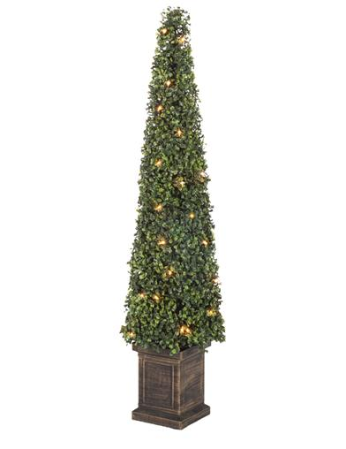 Illuminated Faux Boxwood Tree