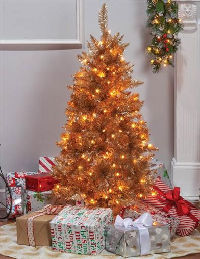 Rose Gold Petite Lighted Tinsel Tree