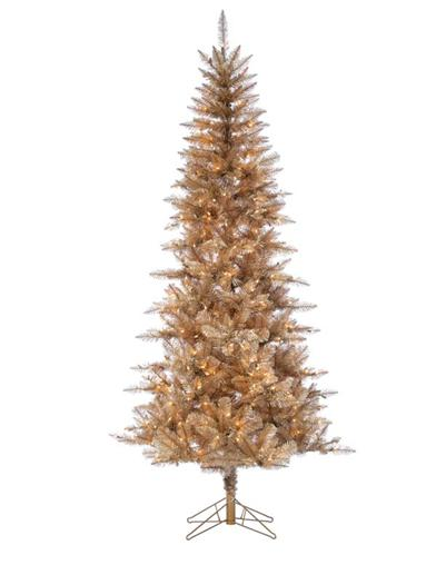 Rose Gold Tall Lighted Tinsel Tree