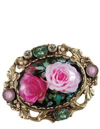 Bejeweled Cabbage Rose Brooch