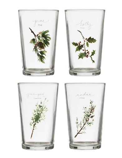 Holiday Sprigs Drinking Glasses (Set Of 4)