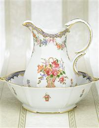 French Flower Basket Pitcher And Basin Bath