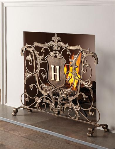 Monogrammed Baroque Fireplace Screen