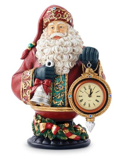 Christmas Time Santa Bust & Clock