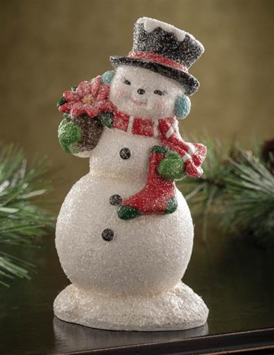 Retro Frosted Snowman Figurine