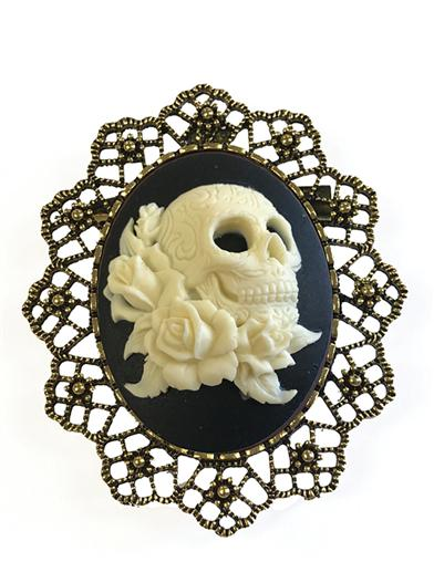 Phantom Rose Skull Cameo Brooch