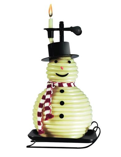 Snowman Coiled Beeswax Candle
