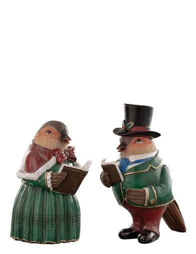 Rolf And Ruthie Caroling Robins Statuettes