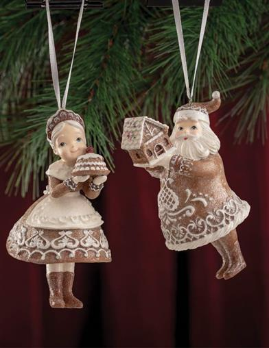 Mr. & Mrs. Claus Gingerbread Ornaments