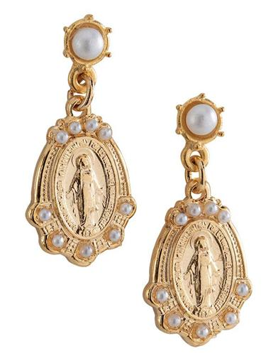 Miraculous Medal Drop Earrings