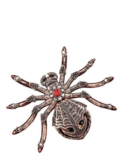 A Filigree Frocked Black Widow Brooch