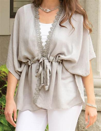 Audrey Grey Lace Tunic