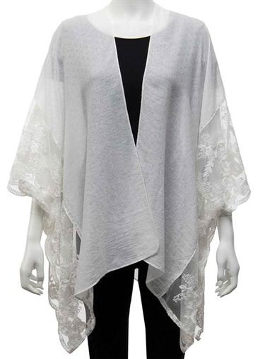 亚麻布& Lace Wrap White