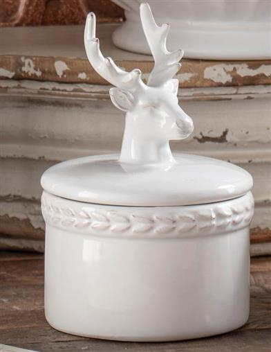 Winter White Stag Bowl With Lid