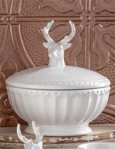 Winter White Stag Covered Dish