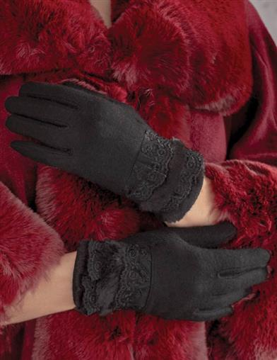 Black Gloves With Lace And Fur Cuff