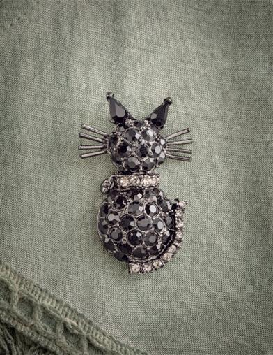 Black Cat Crystal Brooch