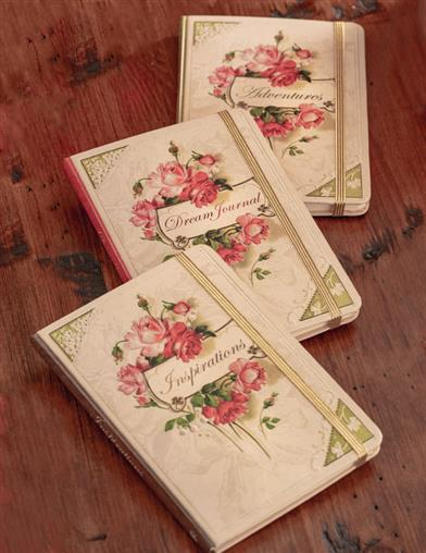 Antique Rose Bouquet Hardcover Journals (Set Of 3)