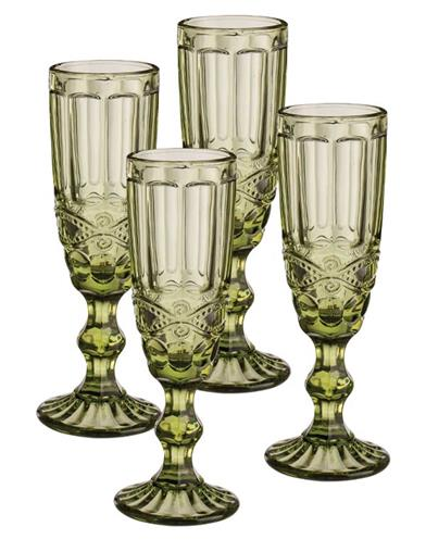 Green Garland Flute Glasses (Set Of 4)