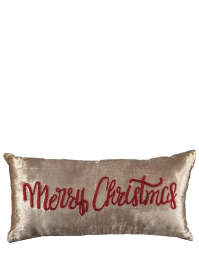 Merry Christmas Velvet & Linen Pillow