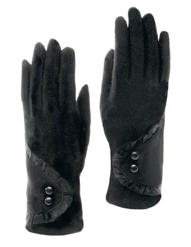 Black Gloves With Lace Cuff And Button