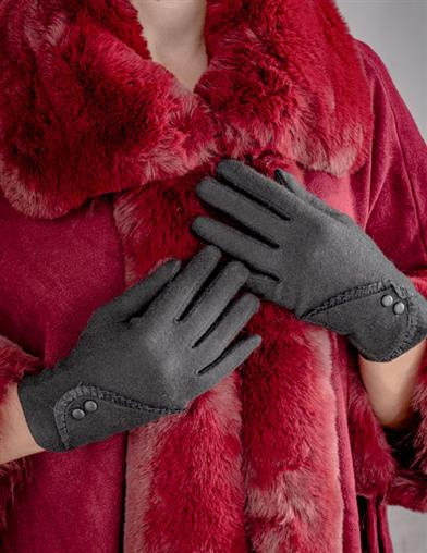 Black Gloves With Lace Cuff And Buttons