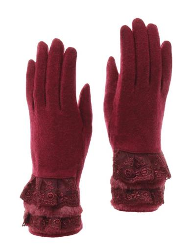 Burgundy Gloves With Lace And Fur Cuff
