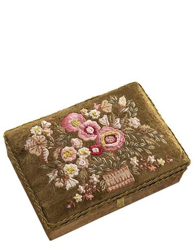 Emerald Garden Embroidered Velvet Keepsake Box