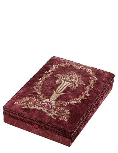 Ruby Floral Embroidered Velvet Keepsake Box