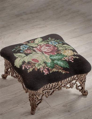 Midnight Bouquet Cast Iron Foot Stool