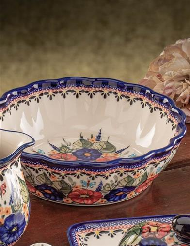Butterfly Garden Scalloped Serving Bowl