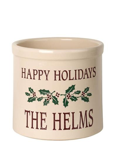 Happy Holidays Customizable Crock