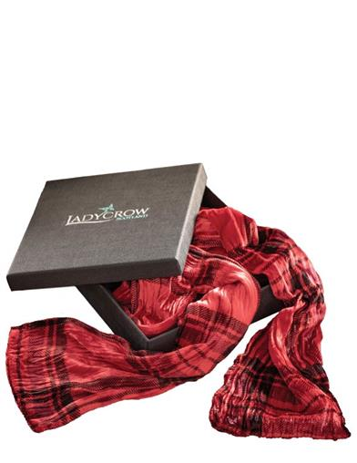 Scottish Silk Red Tartan Scarf