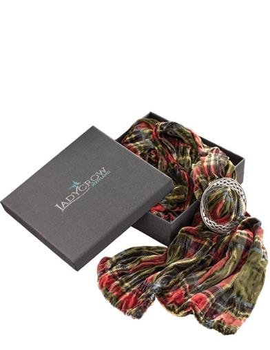 Scottish Silk Olive Iridescent Tartan Scarf