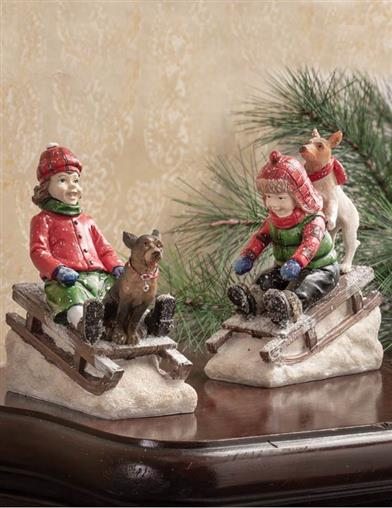 Chip & Charlotte Sledding Figurines (Pair)