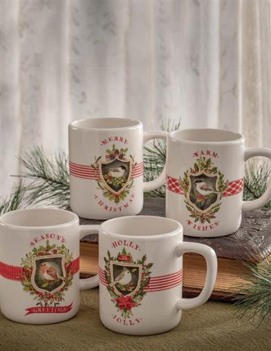 Holiday Chirp & Cheer Ceramic Mugs (Set Of 4)