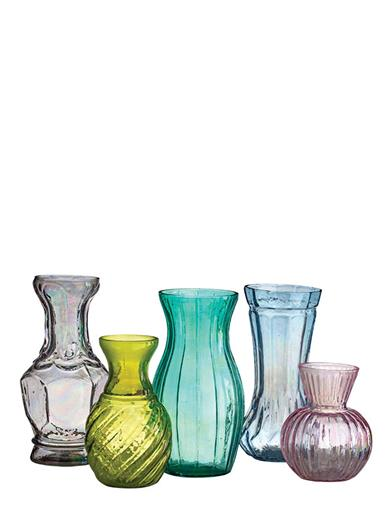 Pastel Glass Garden Bud Vases (Set Of 5)