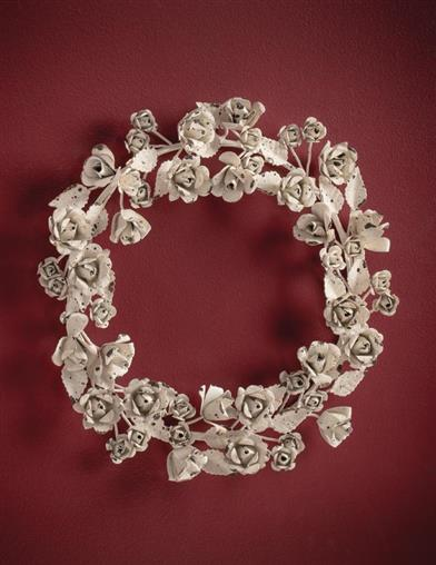 Shabby Chic White Roses Wreath