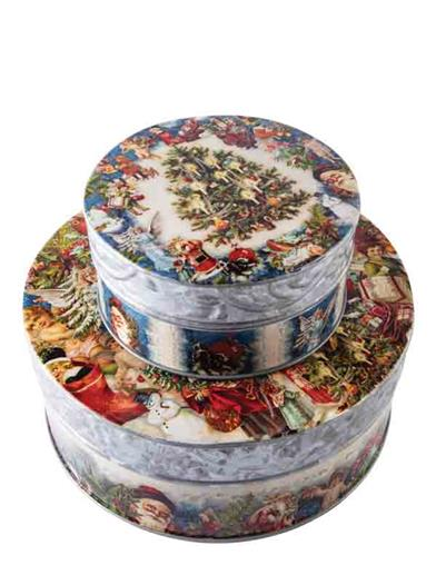 Old World Christmas Collage Nested Tins (Set Of 2)