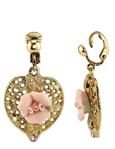 Gilded Rose Heart Clip Earrings