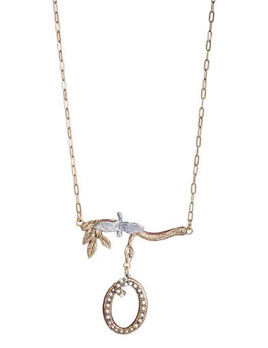 Sparrow On A Branch Initial Necklace
