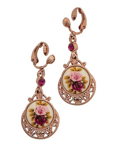 Rose Gold Floral Drop Earrings