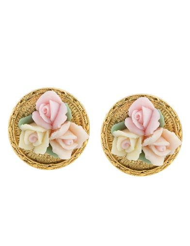 Porcelain Bouquet Clip-on Earrings