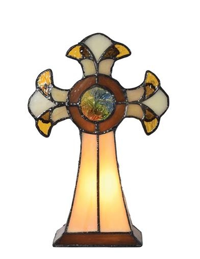 Celtic Cross Stained Glass Lamp