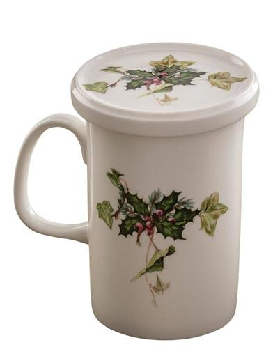 Holly & Berry Lidded Mug With Infuser