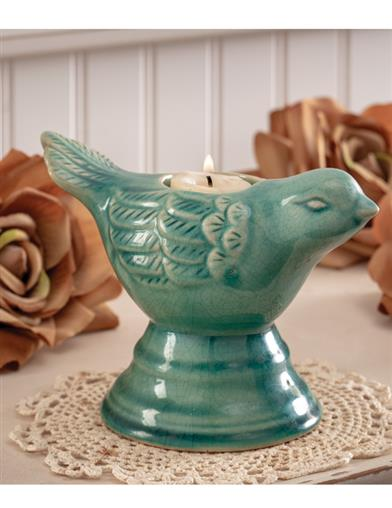 Majolica Bird Tealight Holder
