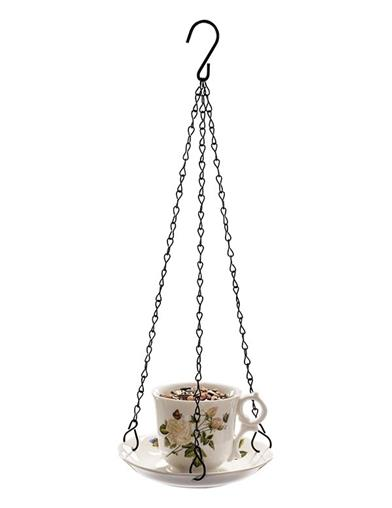 Fine Feathered Tea Party Hanging Bird Feeder