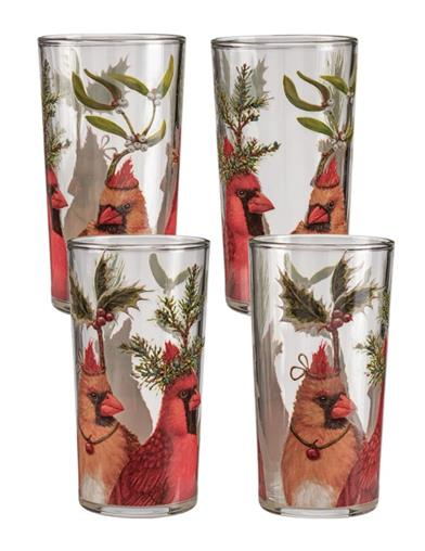 Feathered Winter Friends Glasses (Set Of 4)